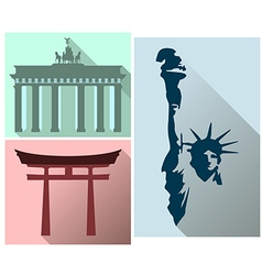 Set sights and symbols of different countries vector image