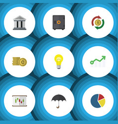 Flat icon gain set of cash bubl parasol and vector