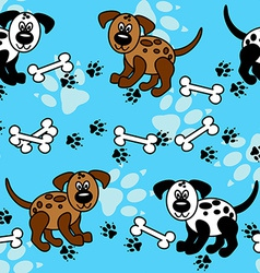 Seamless dogs and bones borders over blue vector image vector image