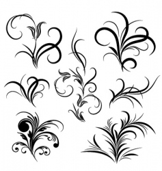 set of flower pattern tattoo vector image vector image