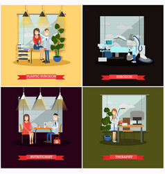 set of medical doctors posters in flat vector image vector image