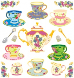 victorian tea set vector image vector image