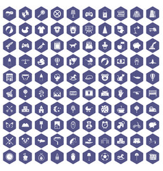 100 nursery icons hexagon purple vector image vector image