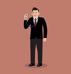 Businessman holding stethoscope vector image vector image