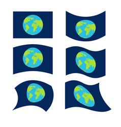 Flag planet earth set official national symbol vector