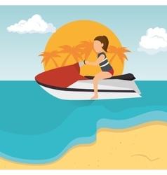 girl jet ski tropical beach vacation vector image