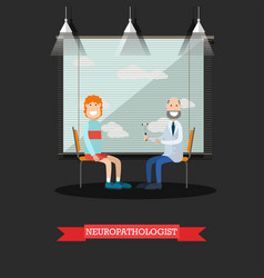 neurologist and patient in vector image