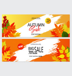 set of autumn banners with leaves wallpaper vector image vector image
