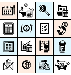 Accounting icons set black vector image vector image