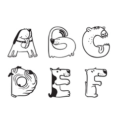 alphabet from A to F vector image vector image