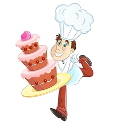 baker and cake vector image