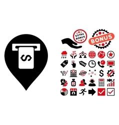 Cash terminal pointer flat icon with bonus vector