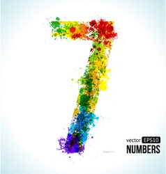 Color paint splashes Gradient Number 7 vector image vector image