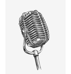 Hand-drawn vintage microphone Sketch karaoke vector image vector image