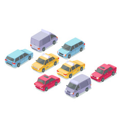 Isometric cars isolated icons vector