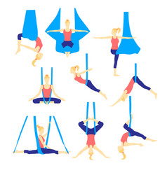 Aero yoga flat icons vector