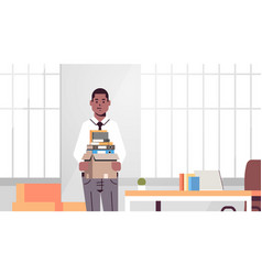 African american businessman office worker holding vector