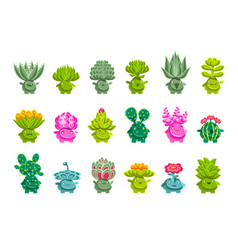 Alien fantastic plant characters with succulent vector