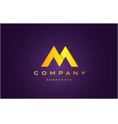 Alphabet letter M purple gold logo icon design vector image