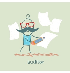 Auditor writes on a piece paper vector
