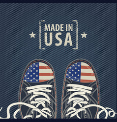 banner with words made in usa and sneakers vector image