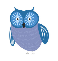 Bird owl wild forest isolated animal with blue vector