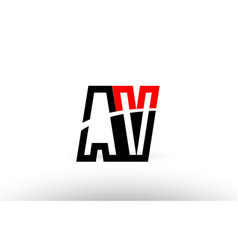 Black white alphabet letter av a v logo icon vector