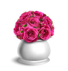Bouquet roses in flowerpot festive vector