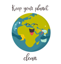 bright poster with clean cartoon planet vector image