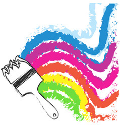 brush and waves colored paint vector image