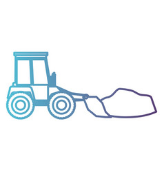 bulldozer on gradient color silhouette from blue vector image