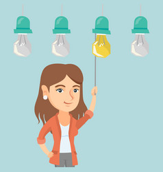 Business woman switching on hanging idea bulb vector