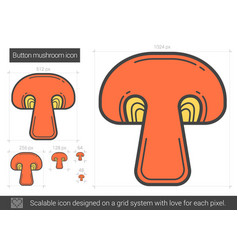 Button mushroom line icon vector