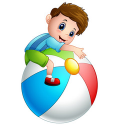 cartoon boy playing colored ball toys vector image