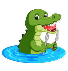 Cartoon crocodile preparing to eat vector