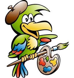 cartoon of a parrot painter artist vector image