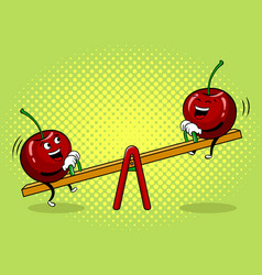 Cherry on seesaw pop art vector