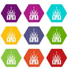 church building icon set color hexahedron vector image