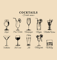 Cocktails and alcoholic beverages glasses hand vector