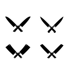 crossed cleavers knives vector image