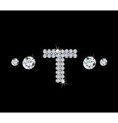Diamond alphabetic letter T vector