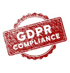 Distress textured gdpr compliance stamp seal vector
