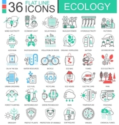 Ecology flat line outline icons for apps vector