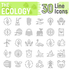 Ecology thin line icon set green energy signs vector