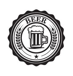 Emblem with beer mug design element for logo vector