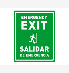 Emergency exit sign in english and spanish vector