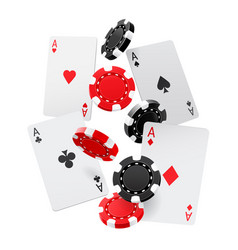 falling aces and casino chips with isolated on vector image