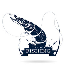 Fishing logo monochrome of pike with fishing rod vector