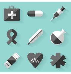 Flat icon set Medical White style vector image
