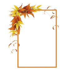 frame with leaves in autumn vector image